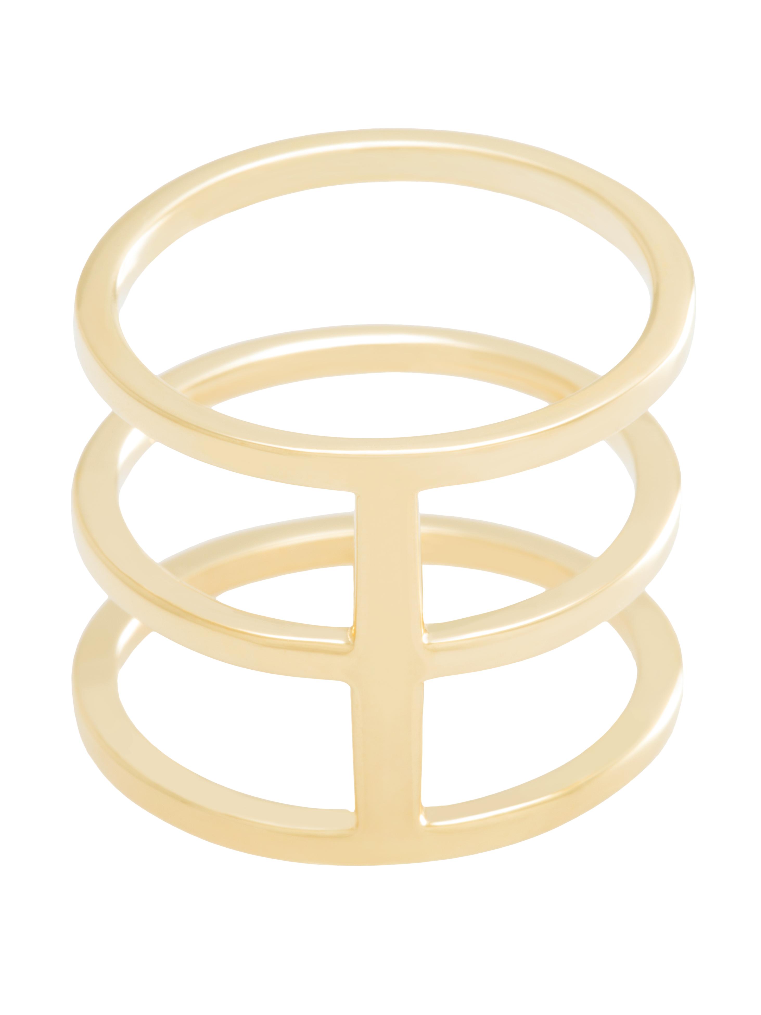 moie Złoty pierścionek potrójny minimalistyczna biżuteria moie