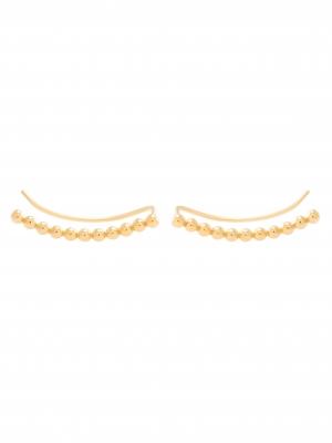 Złote kolczyki z kulkami nausznica minimalistyczna biżuteria moie