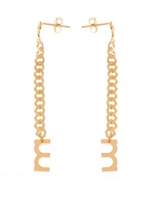 Złote kolczyki z łańcuszkiem minimalistyczna biżuteria moie