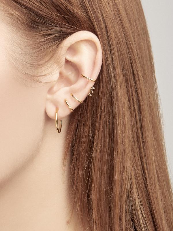 Kolczyki nausznice me3 gold złoto minimalistyczna biżuteria moie