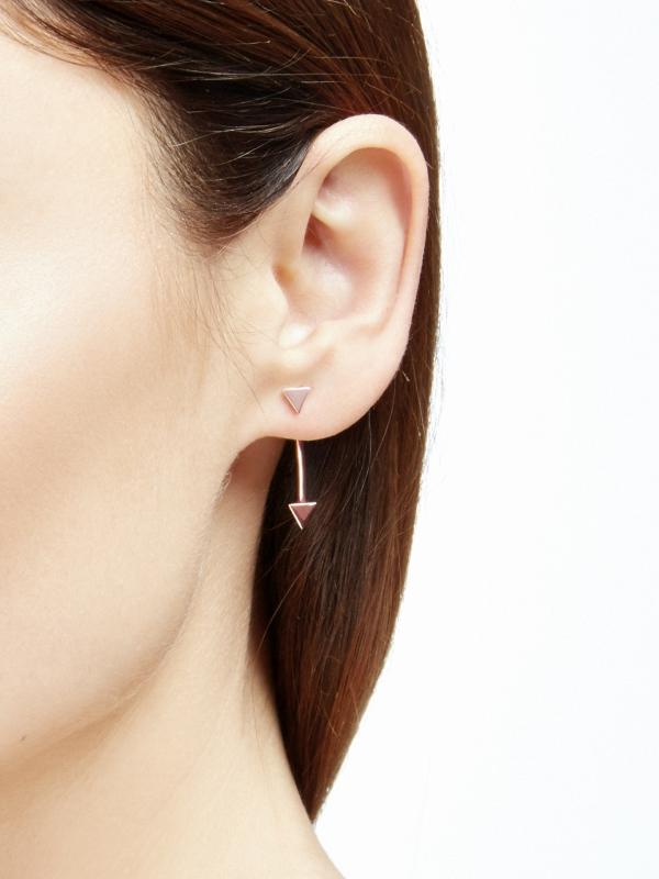 moie Kolczyki z trójkątami różowe złoto minimalistyczna biżuteria moie