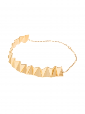 Złoty naszyjnik geometryczny minimalistyczna biżuteria moie