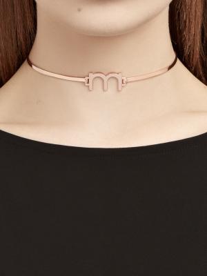 Choker z literą różowe złoto minimalistyczna biżuteria moie