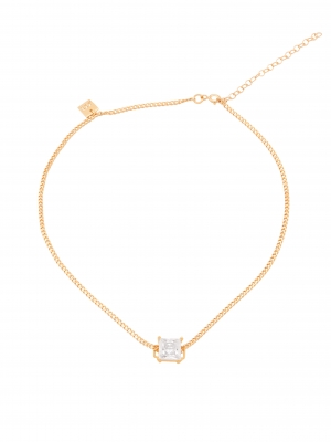 Złoty choker z cyrkonią minimalistyczna biżuteria moie