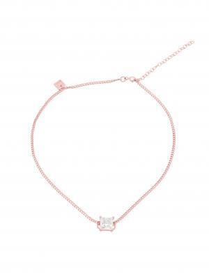 Choker z cyrkonią różowe złoto minimalistyczna biżuteria moie