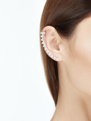 Srebrna nausznica na całe ucho minimalistyczna biżuteria moie