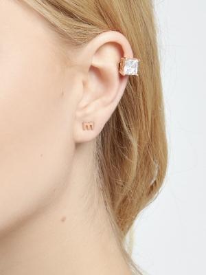 Nausznica z cyrkonią różowe złoto minimalistyczna biżuteria moie
