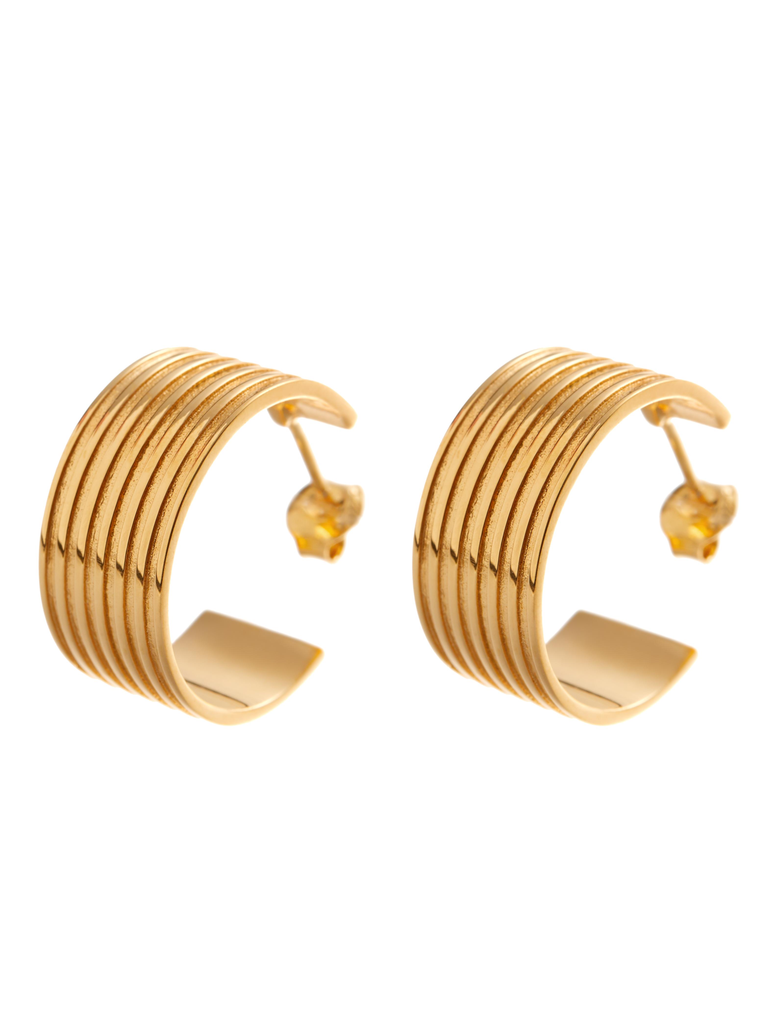 kolczyki szerokie kółka re10 złoto minimalistyczna biżuteria moie