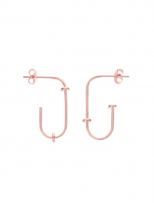 Kolczyki w kształcie agrafki re6 rose gold różowe złoto minimalistyczna biżuteria moie