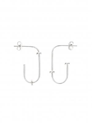 kolczyki agrafki asymetryczne re6 silver srebro minimalistyczna biżuteria moie
