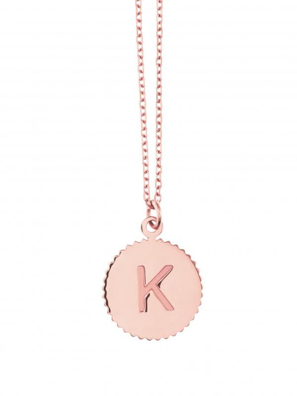 naszyjnik z literką re1 różowe złoto biżuteria moie